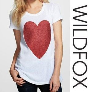 NWT Wildfox White T-Shirt with Red Sparkly Heart